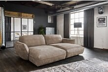KAWOLA Big-Sofa Davito, Longchair Stoff braun