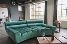 KAWOLA Big Sofa NERLA Stoff Velvet grün