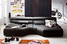KAWOLA Big Sofa TARA Wohnlandschaft Stoff grau mit