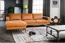 KAWOLA Sofa BLOOM Recamiere links Leder Retro
