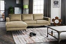 KAWOLA Sofa BLOOM Recamiere links Leder Retro olive