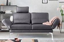 KAWOLA Sofa HURRICANE 2-Sitzer Leder dunkelgrau