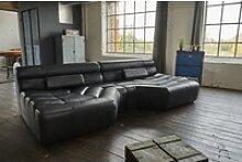 KAWOLA Sofa TARA, XXL Big Sofa Leder schwarz mit