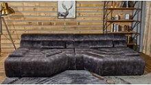 KAWOLA Sofa TARA, XXL Big Sofa Velvet Vintage