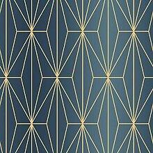 Kayla Metallic Geometrische Tapete blau/Bronze