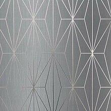 Kayla Metallic Geometrische Tapete Grau/Gunmetal