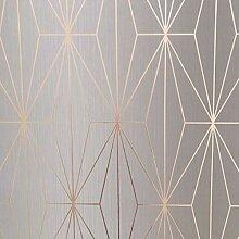 Kayla Metallic Geometrische Tapete Grau/Rose Gold