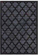 Kayoom KLASSISCH TEPPICHE MUSTER GLANZ MODERN TEPPICH MAROC LUREX SCHWARZ SILBER, Größe:160cm x 230cm