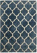 Kayoom Teppich, Baumwolle, Blau, 80x 18x 18cm