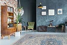 Kayoom TEPPICH MODERN TEPPICHE KLASSISCH SHABBY ORIENTALISCH LOOK USEDGRAU BLAU, Größe:80cm x 150cm