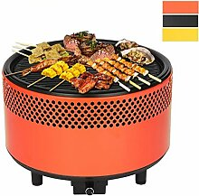 kbabe Tragbarer Grill Portable BBQ Grill 304Edelstahl Holzkohlegrill Outdoor Garten Camping multicolor-orange
