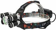 KC Fire LED Scheinwerfer, 4Modi Scheinwerfer, Super Bright 6000Lumen 5Lichter Camping Outdoor, Mountainbiken Jagd Angeln Scheinwerfer, Scheinwerfer-Taschenlampe, wasserdicht, mit Wiederaufladbare Batterien, silber