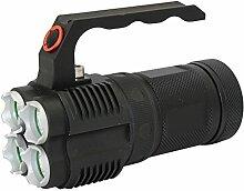 KC Fire Tactical Taschenlampe, Super Hell LED Handheld Spotlight–XM-L24000Lumen Searchlight für Camping Laterne Wandern Jagd, schwarz
