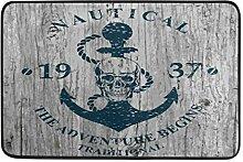 Kcldeci Anker Holz-Badematte Fußmatte für