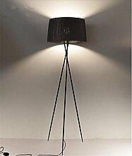 KDLD Stehleuchten ® Stehlampe Schwarze Stativ-Fußboden-Lampen-Gewebe Lampenschirm Schmiedeeiserner Lampen-Unterseite Wohnzimmer-Schlafzimmer-moderne Beleuchtung-Dekor