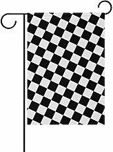 KDU Fashion Garden Flag,Schwarz-Weiße Karierte