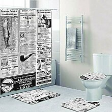 KEAINIDENI Badematte,Retro Vintage Zeitung