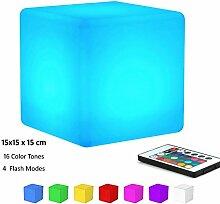 KEEDA LED RGB Beleuchtung, Außenleuchte, Aufladbare LED Licht, Stimmungslicht ,Nachtlicht mit Fernbedienung, 16 Farbwechsel- (Würfel,15x15 x15cm)