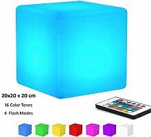 KEEDA LED RGB Beleuchtung, Außenleuchte, Aufladbare LED Licht, Stimmungslicht ,Nachtlicht mit Fernbedienung, 16 Farbwechsel- (Würfel,20x20 x20cm)