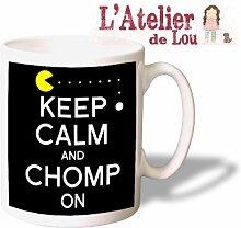 Keep Calm and Chomp On PacMan Mug keramisch Kaffeebecher - Originelle Geschenkidee - Spülmaschinefes
