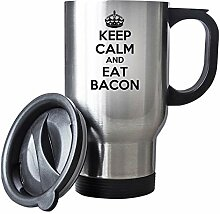 Keep Calm and Eat Bacon Thermobecher aus Edelstahl
