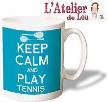 Keep Calm and Play Tennis Mug keramisch Kaffeebecher - Originelle Geschenkidee - Spülmaschinefes