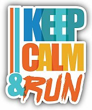 Keep Calm and Run Slogan - Self-Adhesive Sticker