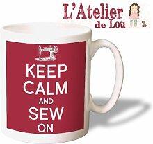 Keep Calm and Sew On keramisch Kaffeebecher - Originelle Geschenkidee - Spülmaschinefes