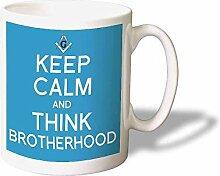 Keep Calm Think Brotherhood Mug Kaffeetasse - Originelle Geschenkidee - Spülmachinenefes