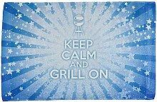 Keep Calm und Grill auf Blau alle über Sport Handtuch Multi Standard One Größe