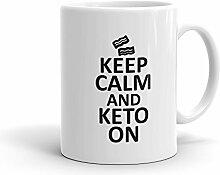 Keep Calm und Keto auf Bacon made in USA Tasse