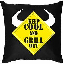 KEEP COOL AND ..- Witziges Zusatzkissen mit Füllung. Kuschelkissen-Dekokissen 40x40 Geschenkidee-Sofa-schwarz
