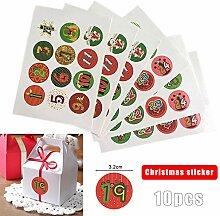 Keepbest 10 Blatt/Set Weihnachten Aufkleber