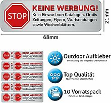 Keine Werbung Aufkleber - Schild – Folie - Sticker ( STOP Bitte keine Kostenlose Zeitung, Reklame, Flyer, Handzettel, Wurfsendungen, Wochenblätter, Werbung einwerfen, etc. ) für den Briefkasten in Edelstahl-Optik – 10 Stück ( 7 cm x 2,6 cm )