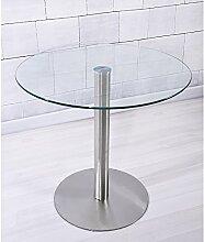 Keinode Esstisch aus Glas, rund, transparent, aus