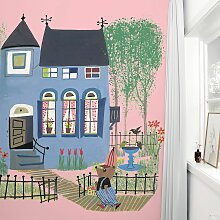 KEK Amsterdam Bear Weißh Blue House Rosa Tapete (b) 243.5 X (h) 280 Cm