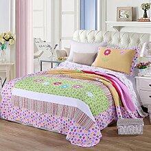 KekeHouse® Tagesdecke Baumwolle Kinder Überwurf Decke Patchwork Blume Romantisch Mädchen Bettüberwurf Decke Kinderzimmer 180x220 cm mit 1 x Kissenbezug Sofaüberwurf Steppdecke