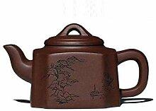 KEKEYANG Kaffee-Teekanne aus Ton, 350 ml, violette