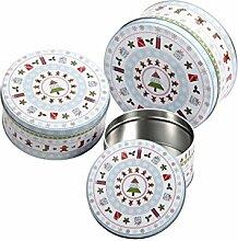 Keksdose 3er Set Blechdose Aufbewahrung Vorratsdose Metall Gebäckdose von Alsino, Variante wählen:946231 Weihnachtensdeko