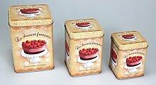 Keksdose Aufbewahrungsdose Gebäckdose Blechdose Vorratsdose 3er Set eckig Dessert, pastell, Blech, vintage, 3er Set beige - orange