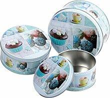 Keksdose Cupcake Rund 3er Set Blechdose Metalldose Gebäckdose Vorratsdose von Alsino , Variante wählen:101914 Cupcake blau