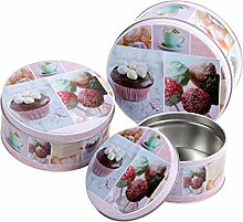 Keksdose Cupcake Rund 3er Set Blechdose Metalldose Gebäckdose Vorratsdose von Alsino , Variante wählen:101913 Cupcake pink