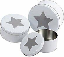Keksdose Stern Rund 3er Set Blechdose Metalldose Gebäckdose Vorratsdose von Alsino , Variante wählen:101922 Stern weiß