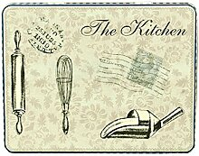 Keksdose Vorratsdose Gebäckdose eckig/flach, The Kitchen, blau, ca. 21 x 16.5 x 8.5 cm, 1 Stück