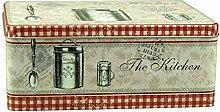 Keksdose Vorratsdose Gebäckdose eckig/flach, The Kitchen, rot, ca. 21 x 16.5 x 8.5 cm, 1 Stück