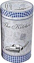 Keksdose Vorratsdose Gebäckdose Kaffeedose, The Kitchen, rund, blau ca. 11 x 19 cm, 1 Stück