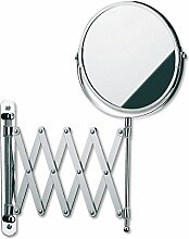 Kela 20847 Wand-Kosmetik-Spiegel, Zum Schrauben, Ausziehbar, 1-/5-fach Vergrößerung, Ø 18,5cm, Metall, Avita
