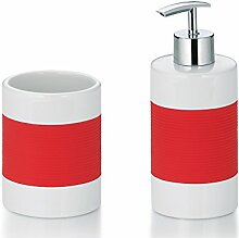 Kela 390159, 3-tlg. Badset, 1 Flüssig-Seifenspender/ 2 Becher, Keramik, Laletta, Koralle