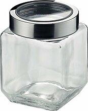 KELA Vorratsdose Glas / Edelstahl SIRO M 1 Liter, grau