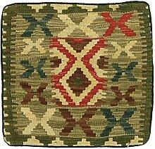 Kelim Kissen Teppich Orientalischer Teppich 40x40 cm - Teppich Kissen - Kelim Sitz - Sitzkissen - Handgewebt Klassisch